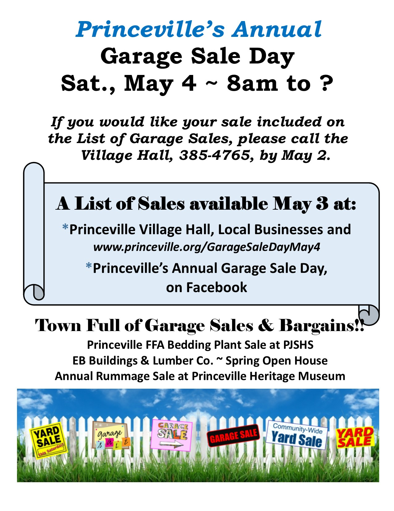 Annual Garage Sale Day The Village Of Princeville Illinois