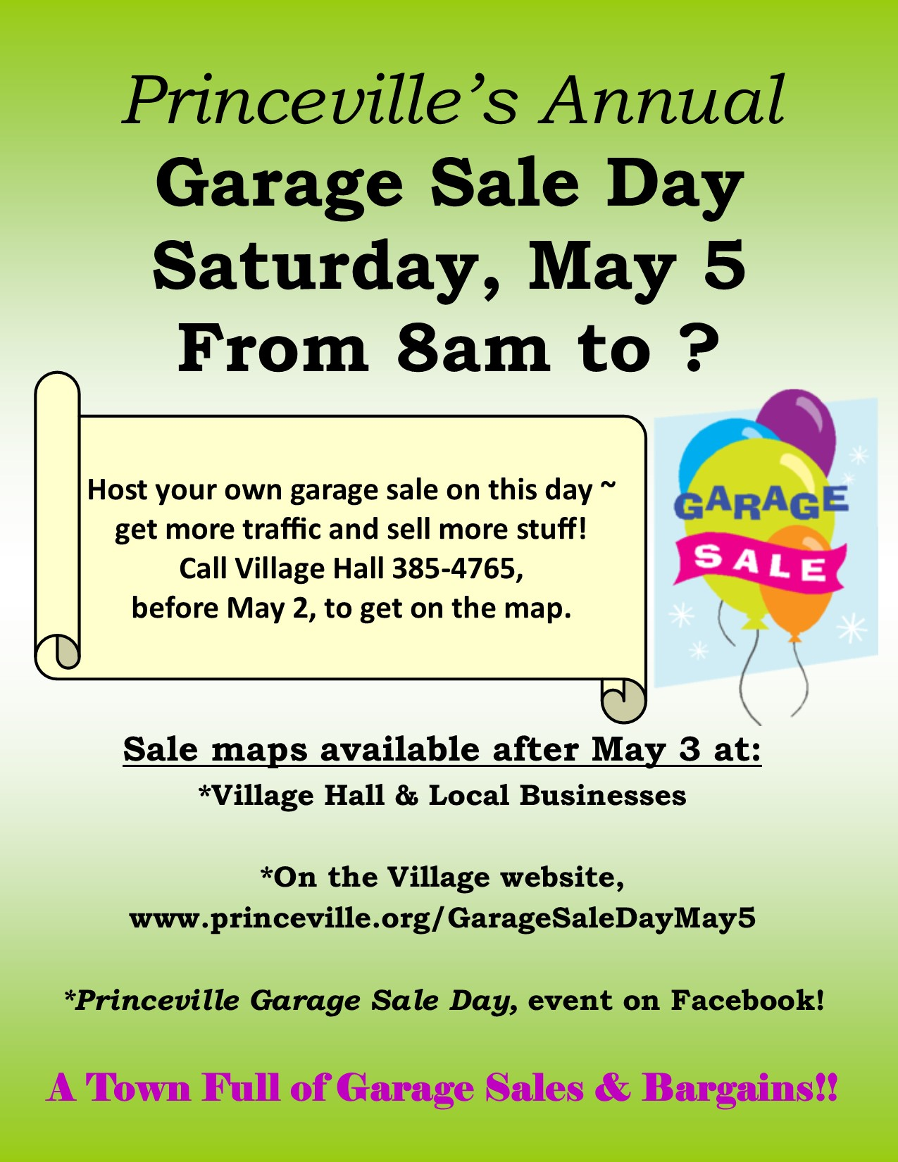 townwide garage sale flyer 2018 the village of princeville illinois